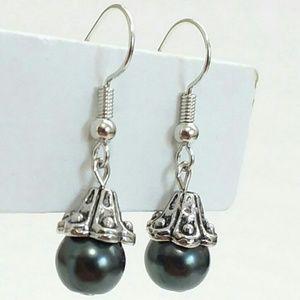 Jewelry - Black Pearl Silver-Tone Earrings